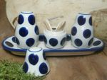 Salt, pepper & pick set with tray, Tradition 28 - polish pottery - BSN 7721