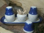 Salt, pepper & pick set with tray, unique 18 - polish pottery - BSN 10486