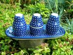 Salt, pepper & pick set with tray, unique 22 - polish pottery - BSN 10487 Picture 2