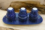 Salt, pepper & pick set with tray, unique 22 - polish pottery - BSN 10487