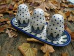 Salt, pepper & pick set with tray, unique 57 - polish pottery - BSN 10488 Picture 3