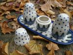 Salt, pepper & pick set with tray, unique 57 - polish pottery - BSN 10488 Picture 2