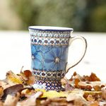 Mug on feet, volume: 250 ml, height 12 cm, unique 4 - polish pottery - BSN 1368 Picture 1
