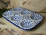 Baking tin, 29 x 20 x 4 cm, with 6 troughs, Tradition 24 - polish pottery - BSN 21608