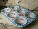 Baking tin, 29 x 20 x 4 cm, with 6 troughs, Tradition 53 - polish pottery - BSN 21624