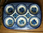 Baking tin, 29 x 20 x 4 cm, with 6 troughs, Unikat 2 - polish pottery - BSN 6433 Picture 2