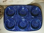Baking tin with 6 troughs 29 x 20 x 4cm polish pottery - Unikat 22 -On : 6174