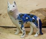 Dog, 15 x 16 x 7,5 cm, unique 2 - polish pottery - BSN 7106