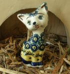 Cat 10,5 cm high - polish pottery - tradition 17 - second quality- BSN 5718