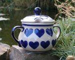 Sugar bowl, ↑10cm, Ø12cm, pottery with heart, BSN s-202