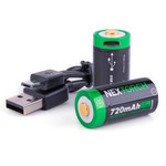 CR123A Lithium Batterie 720 mAh mit USB im 2 Stck - Blister Pack – Bild 1