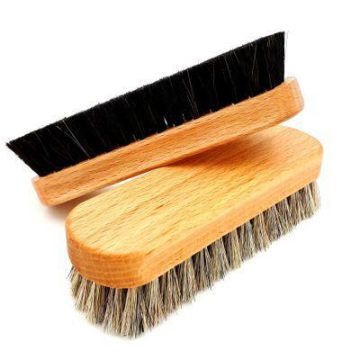 DELARA Zwei hochwertige Polierbürsten aus lackiertem Buchenholz, 100% weiches Rosshaar – Bild 1