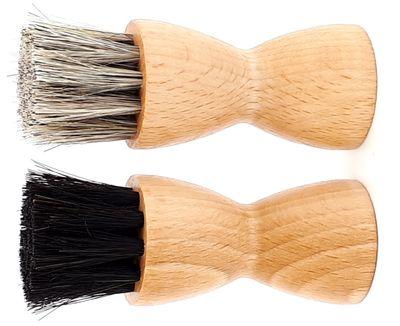 DELARA Zwei hochwertige Tiegelbürsten aus Holz mit weichem Rosshaar – Bild 2