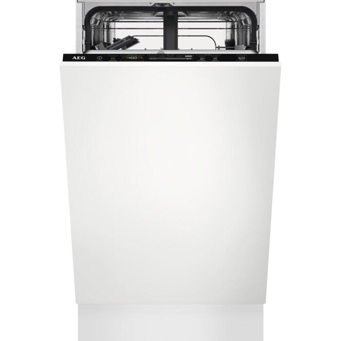 AEG FSE62407P Einbau-Geschirrspüler (E, vollintegrierbar, 44,6 cm breit, Besteckkorb, 9 Maßgedecke, 46 dB, AquaControl)