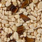 Terralith Edelsteinteppich WAND Mix Tigerauge / beige für 1 qm 001