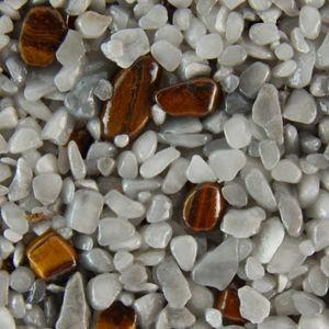 Terralith Edelsteinteppich Farbmuster - Tigerauge / grau-