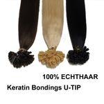 (100 Stück) 1 Gramm Remy Echthaar 60cm glatt Rund-Bondings