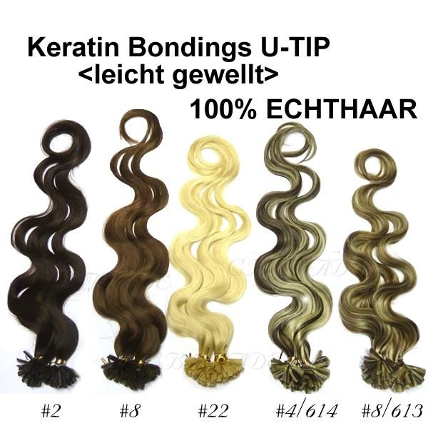 (100 Stück) 1 Gramm Remy Echthaar 70cm leicht gewellt Rund-Bondings