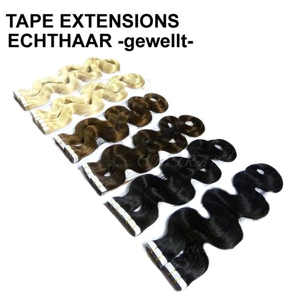 (40 Stück) 50cm Tape In Echthaar leicht gewellt Klebetressen