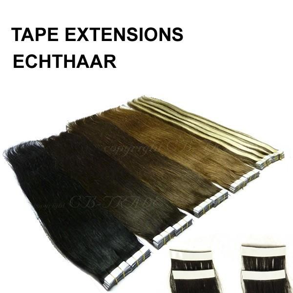 (10 Stück) 40cm Tape In Echthaar Klebetressen