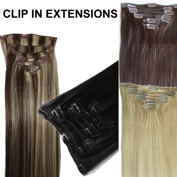 Clip In Echthaar Extensions 7 Teile 40cm 70g L Set