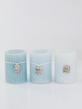 Kerze Wachs blau 3er Set