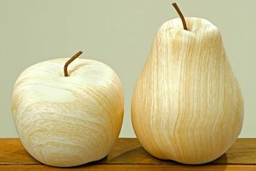 Skulptur Apfel + Birne H19cm 2tlg.