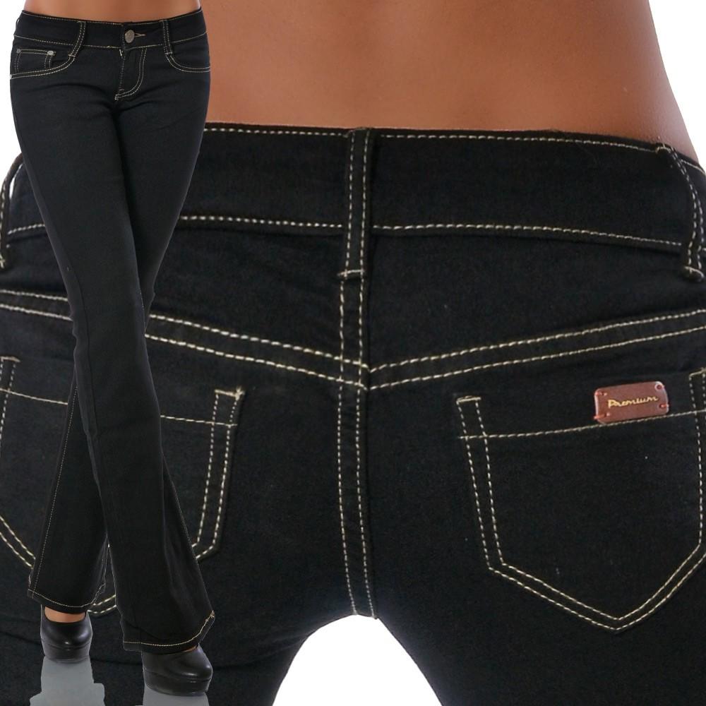Damen Schlaghose Bootcut Hose Strech Hüft Hüftjeans Jeans Blau