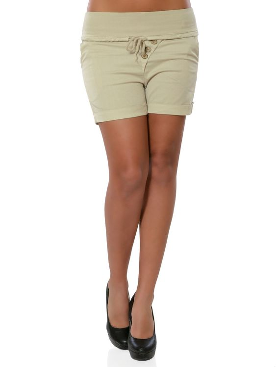 Damen Shorts Hot-Pants Kurze Sommer Hose Chino Stoffhose No 15871