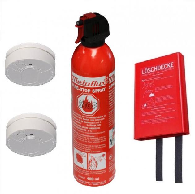 Sicherheitspaket bestehend aus Feuerlöschdecke, 2 Rauchmeldern und Fire-Stop Spray