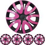 """14 ZOLL 4x PREMIUM DESIGN Radkappen Radzierblenden Set """"Mika"""" in Pink / Schwarz"""