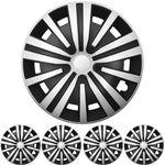 """16 ZOLL 4x PREMIUM DESIGN Radkappen Radzierblenden Set """"Spinel"""" Silber / Schwarz"""