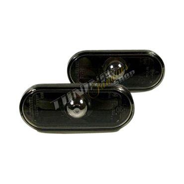2x Klarglas Seitenblinker Blinker SET SCHWARZ Eintragungsfrei #2 für VW Seat Skoda Ford – Bild 1