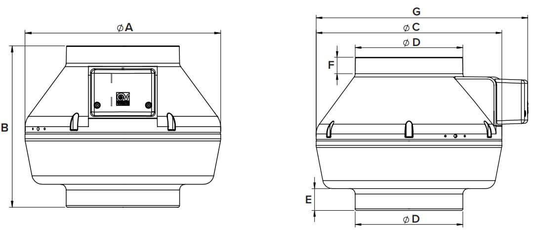 Dimensions CA 315 V0 E inline fan
