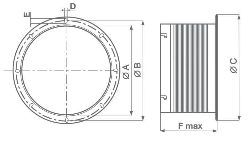 Abmessungen elastische Manschette MPC-RA Vortice