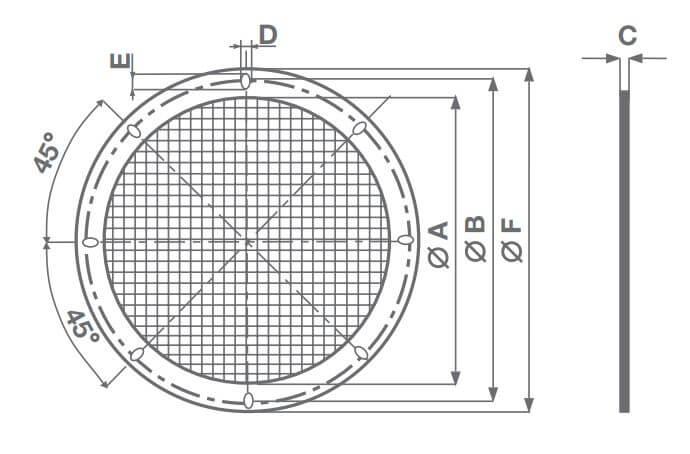 Abmessungen Vortice MPC-RP Schutzgitter
