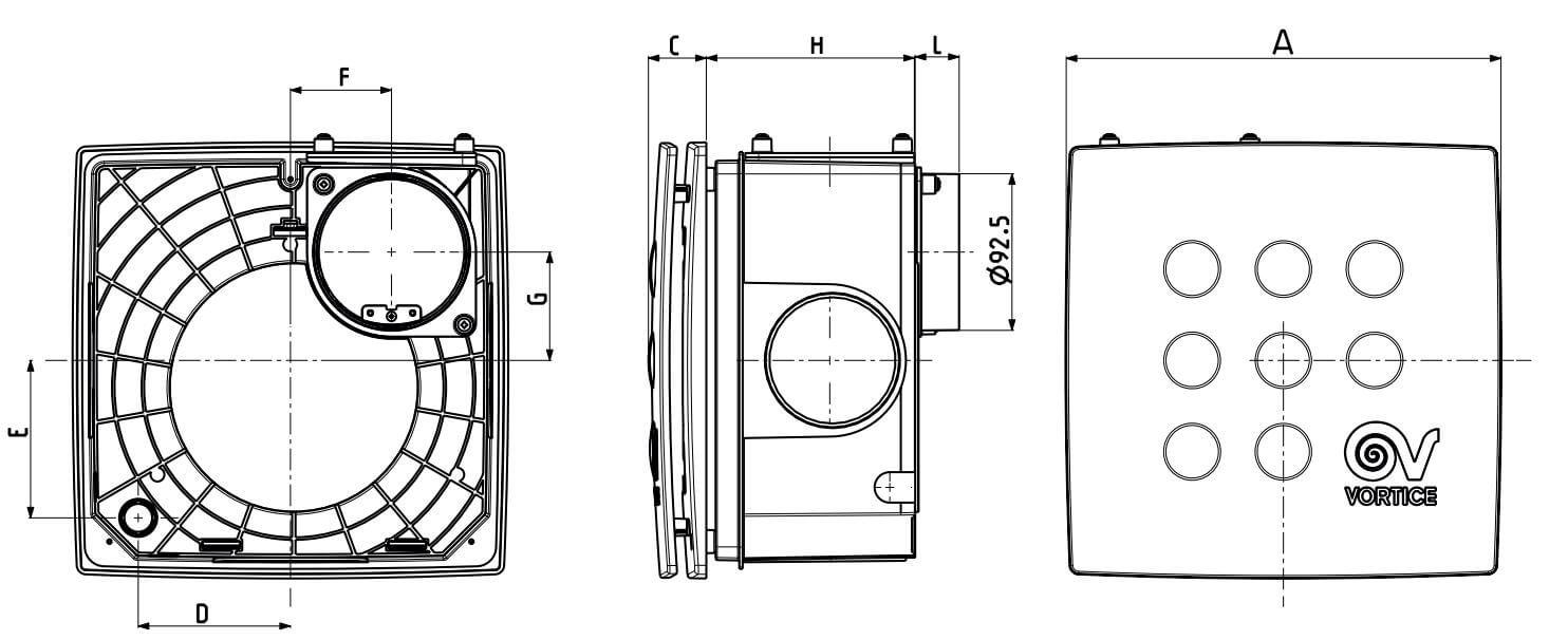 Abmessungen Kleinraumventilator Quadro Micro I Unterputz