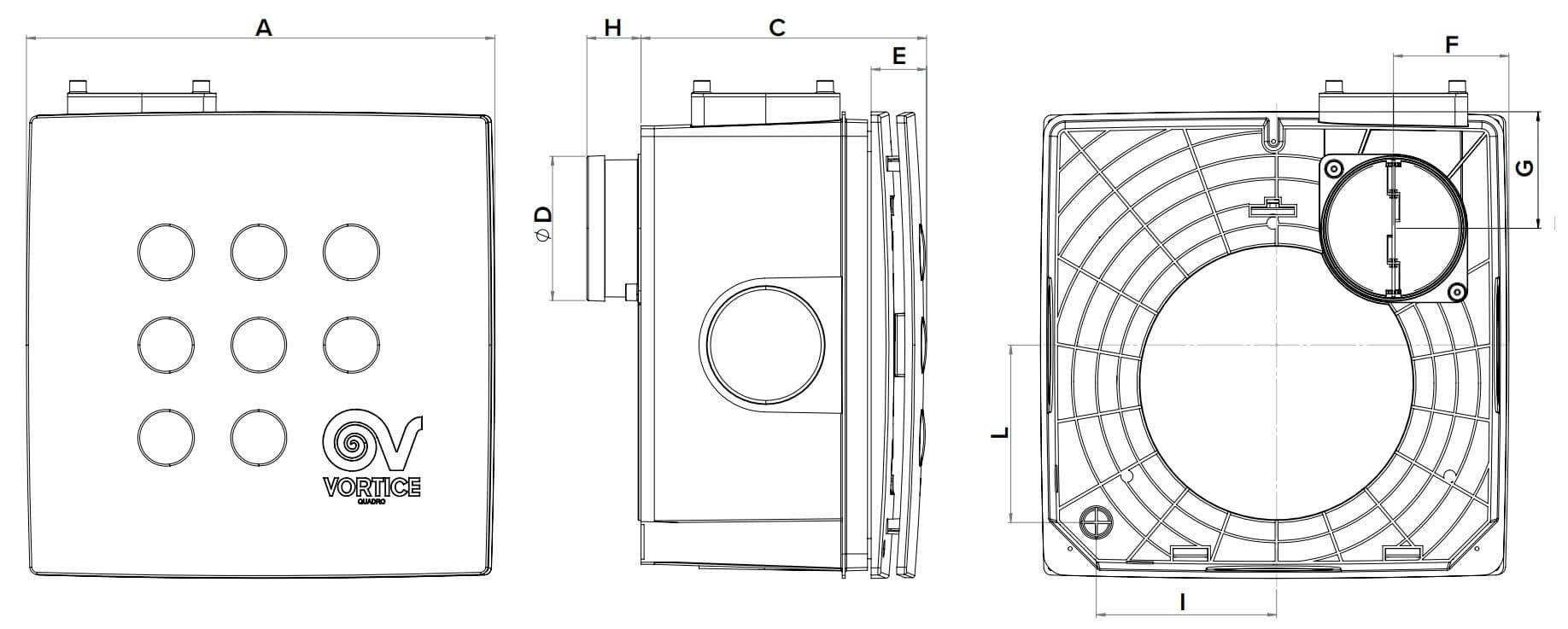 Abmessungen Kleinraumventilator Quadro Super I Unterputz