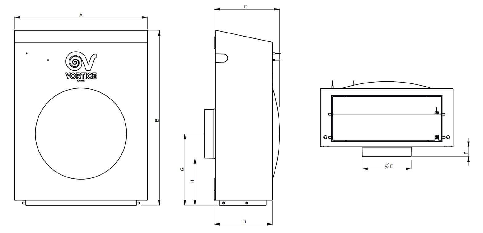 Inline fan dimensions Vortice CA 160 WE D E