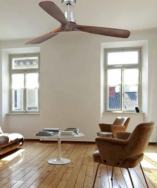 """Faro ceiling fan Lantau 132 cm 52"""" with remote control motor housing matt nickel blades dark walnut"""