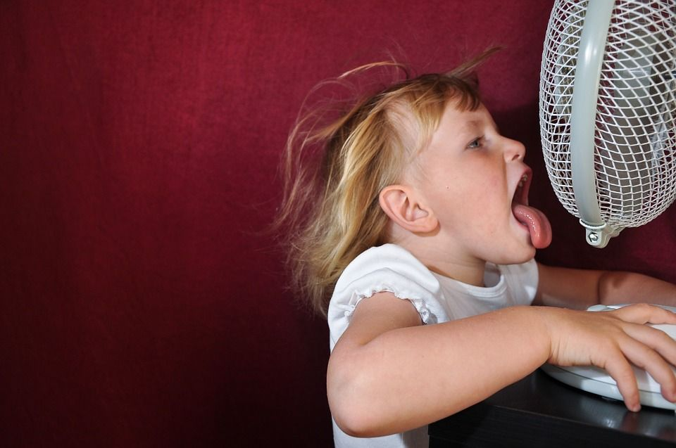 Child with fan