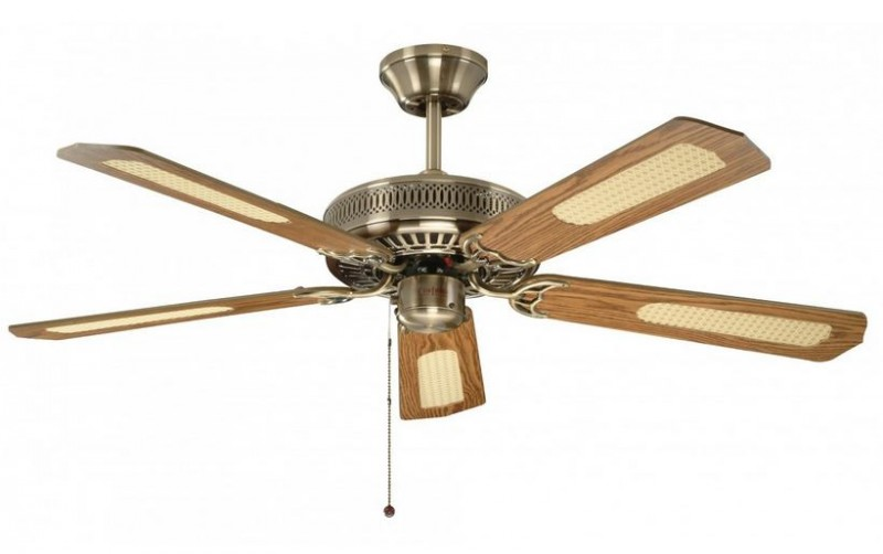 Ceiling Fan Classic Antique Brass With Pull Cord 132 Cm 52