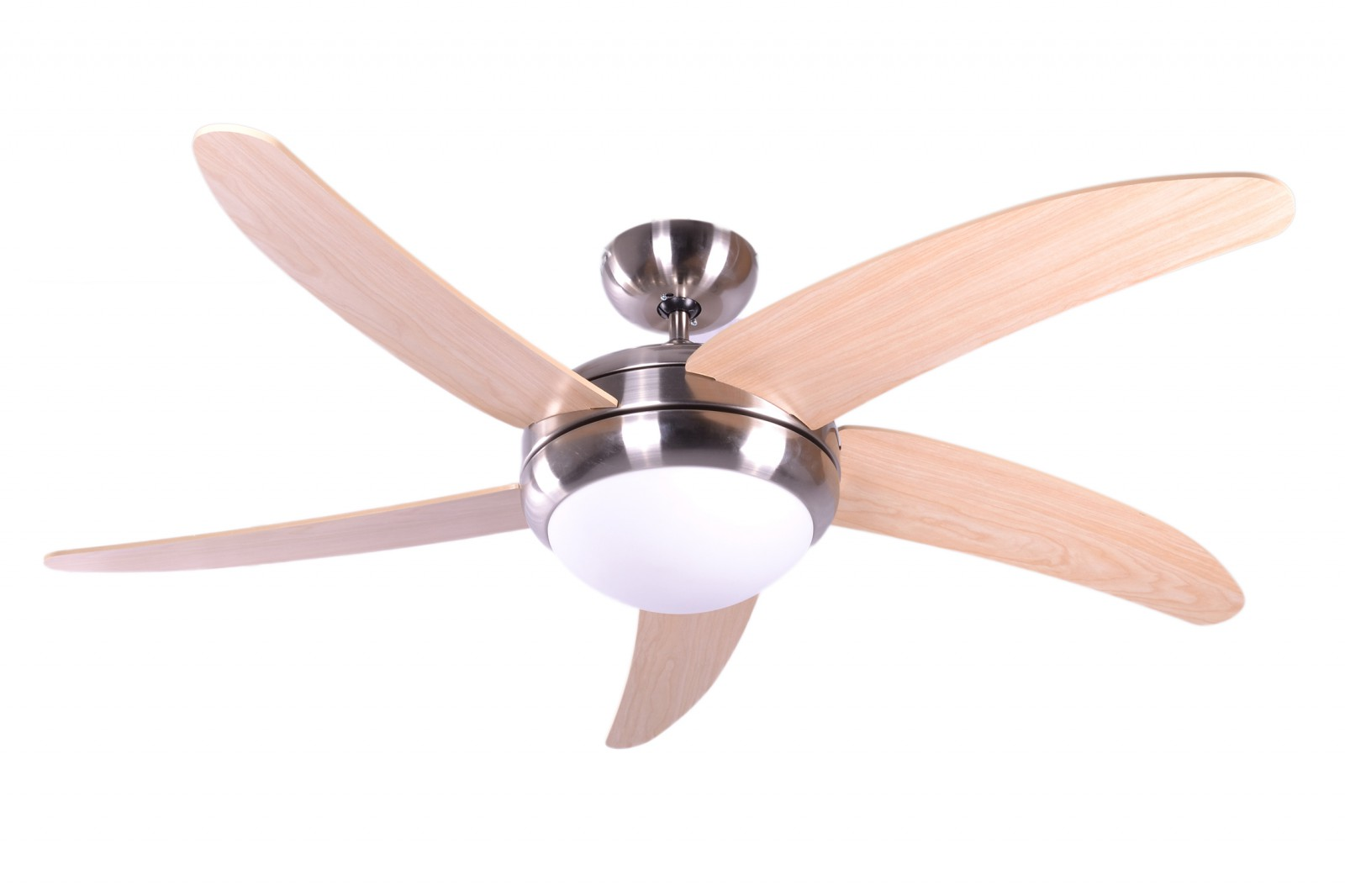 Remote Control Fan : Ceiling fan makkura chrome brushed maple blades with