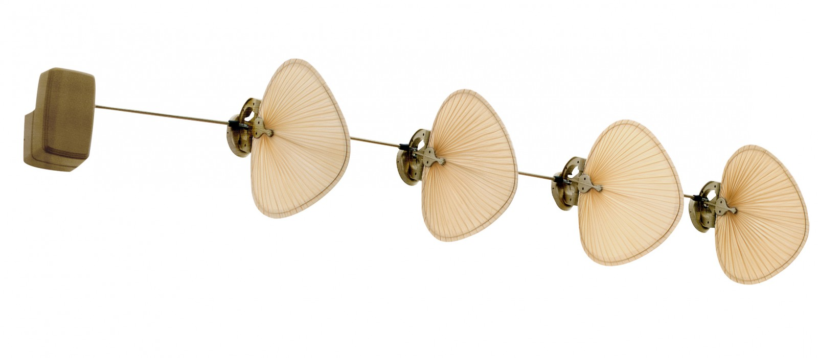 The Punkah Fan Brass Antique Wide Oval Palm Short