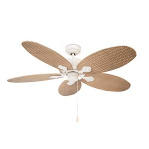 "Ceiling fan Phuket White 132cm / 52"" with pull cord"