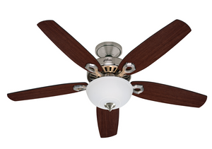 "Hunter Builder Deluxe Nickel 132cm / 52"" ceiling fan with light"