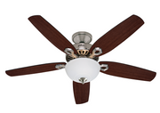 "Hunter Builder Deluxe Nickel 132cm / 52"" ceiling fan with light 001"