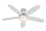 "Hunter Builder Deluxe White 132cm / 52"" ceiling fan with light"