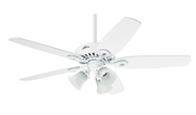 "Hunter Builder Plus Snow White 132cm / 52"" ceiling fan with light"
