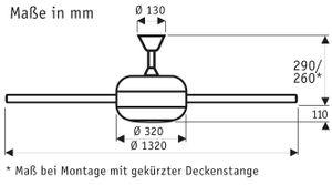 Deckenventilator Ursa 2 Wengue 132 cm mit Licht – Bild 2